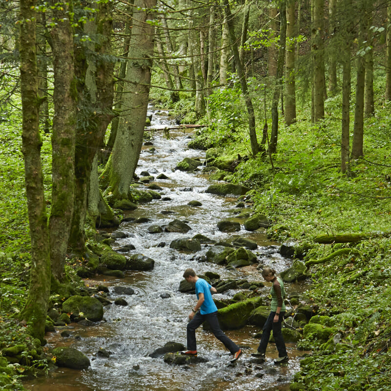 A couple hiking over a stream near Ühlingen-Birkendorf